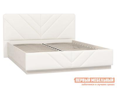 Двуспальная кровать  Амели 11.16 с ПМ Шелковый камень / Экокожа белая Моби. Цвет: белый