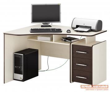 Компьютерный стол  Триан-5 Дуб Молочный / Венге, Левый МФ Мастер. Цвет: темное-cветлое дерево