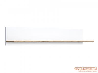 Настенная полка  Вега Скандинавия Дуб Каньон / Белый глянец, 1350 мм КУРАЖ. Цвет: белый