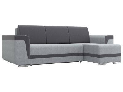 Угловой диван  Рико Светло-серый, рогожка / Темно-серый, велюр Столлайн. Цвет: серый