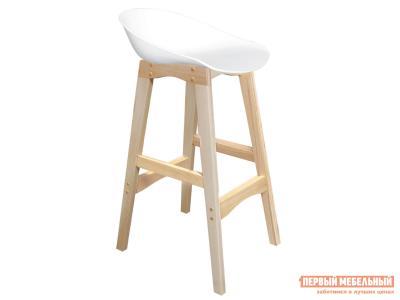 Барный стул  SHT-ST19/S65 Белый, пластик / Натуральный, массив бука Sheffilton. Цвет: белый