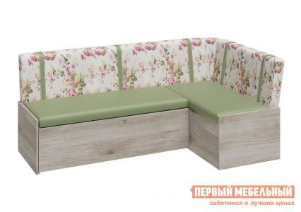 Кухонный диван  Париж Баттл Рок / Цветы зелёные ТриЯ. Цвет: зеленый