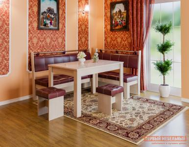 Кухонный уголок  Остин Дуб Белфорт, Бордо, экокожа ЭтоМебель. Цвет: красный