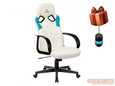 Игровое кресло  ZOMBIE RUNNER Белый, экокожа / Голубой, Бюрократ. Цвет: белый