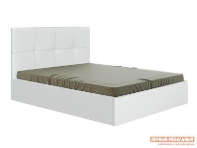 Двуспальная кровать  Верда Белый, экокожа , 160х200 см Первый Мебельный. Цвет: белый