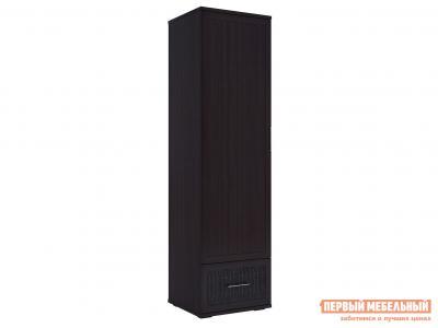 Распашной шкаф  для одежды Парма Люкс Венге / Искусственная кожа caiman, С тремя дополнительными полками КУРАЖ. Цвет: коричневый