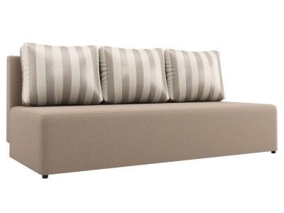 Прямой диван  Нексус Бежевый, рогожка / Серая полоска, жаккард Столлайн. Цвет: серый