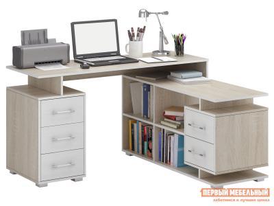 Компьютерный стол  Краст-3 Дуб сонома / Белый МФ Мастер. Цвет: светлое дерево