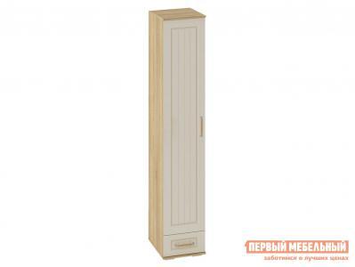 Распашной шкаф  Пенал Маркиза Дуб Сонома / Крем Сатин, С полками Мебелони. Цвет: бежевый