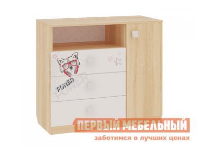 Детский комод  Энерджи MDE-06.1623 Дуб сонома / Белый МебельСон. Цвет: белый