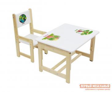 Столик и стульчик  Комплект растущей детской мебели kids Eco 400 SM 68х55 см Дино 2 Polini. Цвет: белый