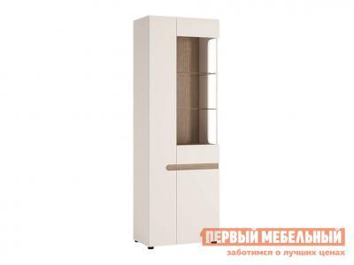 Шкаф-витрина  Пенал-витрина Линате Белый / Сонома трюфель, Правый, С подсветкой Анрэкс. Цвет: белый