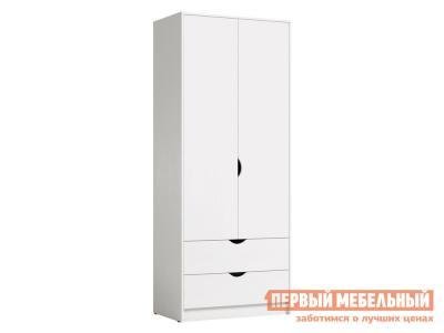 Детский шкаф  2 дв Уна 13.327 с ящ Белый, поры дерева Моби. Цвет: белый