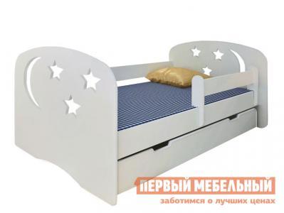 Детская кровать  подростковая с бортиком Ночь Н-80 Белый Столики детям. Цвет: белый