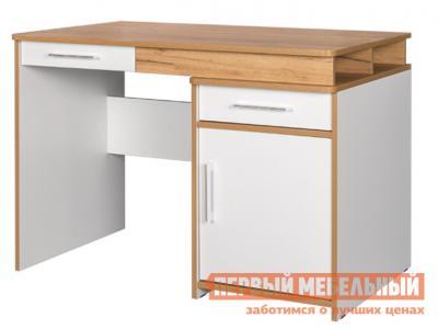 Компьютерный стол  письменный Вуди Дуб золотой / Белый, Без надстройки Моби. Цвет: белый