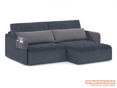 Угловой диван  Граус Люкс Графит, велюр, иск. замша Живые диваны. Цвет: серый