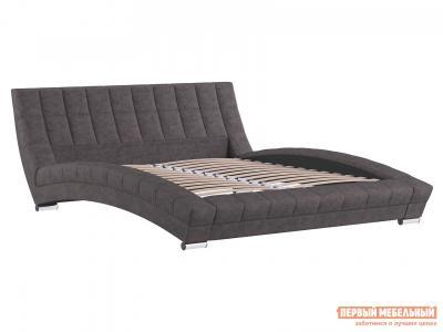 Двуспальная кровать  Оливия Розово-коричневый, велюр, 1800 Х 2000 мм НижегородмебельИК. Цвет: коричневый