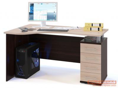 Письменный стол  КСТ-104.1 Корпус Венге / Фасад Беленый дуб, Правый Сокол. Цвет: темное-cветлое дерево