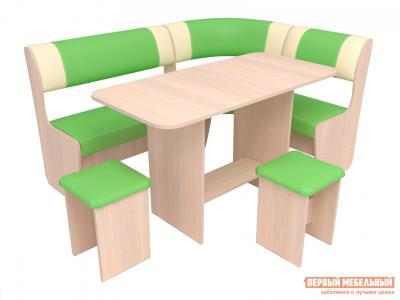 Кухонный уголок  Консул-1 ЭКО Дуб беленый / Ваниль Лайм Маэстро. Цвет: зеленый