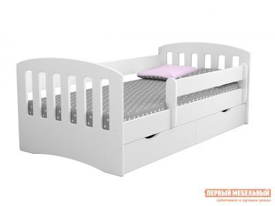 Детская кровать  подростковая с бортиком Классика К-80 Белый Столики детям. Цвет: белый