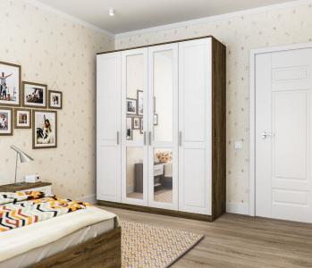 Илона СБ-3075 Шкаф 4х дверный с зеркалом Дуб Сонома Трюфель/Сандал Белый Столплит
