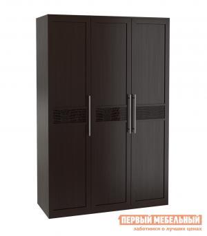 Распашной шкаф  3-х дверный Парма Венге / Искусственная кожа caiman КУРАЖ. Цвет: коричневый