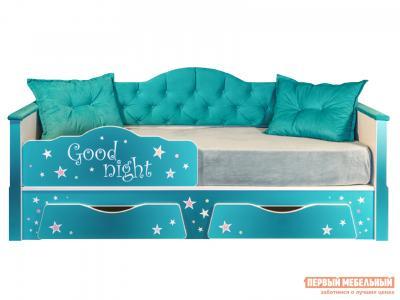 Детская кровать  Ноктюрн, белый, берген азуре (бирюзовый) Белый / Моби. Цвет: синий