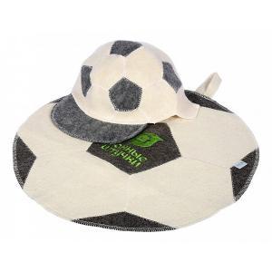 Набор для бани Футбольный мяч Банные штучки. Цвет: белый, серый