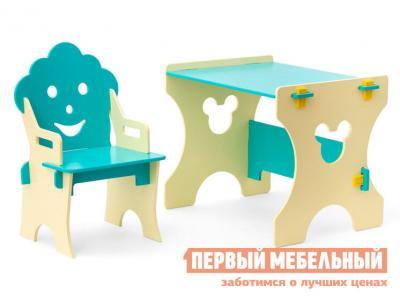 Столик и стульчик  Гном Бежево-бирюзовый Столики детям. Цвет: синий